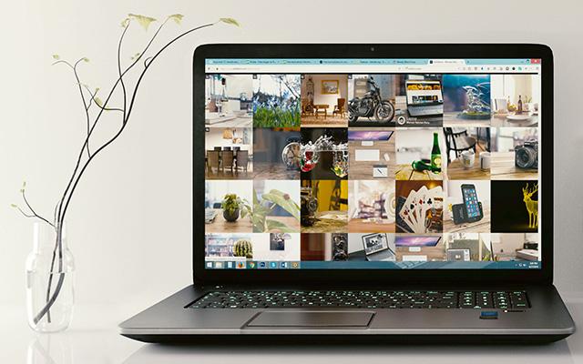 Ordinateur avec un environnement Windows et des images